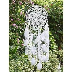 EasyBravo Grand Attrape-rêves avec Plumes Blanches macramé à Suspendre pour décoration de Mariage Vintage 30 cm Cercle 80 cm de Long (Blanc)