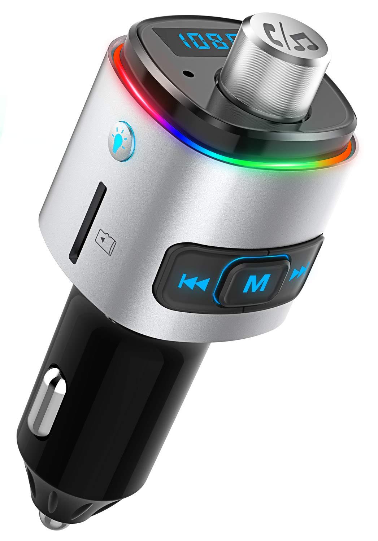 Bovon-FM-Transmitter-Auto-Bluetooth-Adapter-Radio-mit-USB-KFZ-Ladegert-QC30-5V1A-Freisprechanlage-Musikspiel-ber-TF-KarteUSB-Stick-7-Farbe-LED-Backlit-Untersttzt-Siri-Google-Assistant