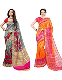 EthnicJunction Cotton Silk Sarees In Combo (Rose Bokey n Abstract Prints)