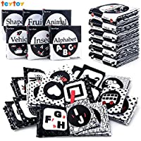 teytoy My First Soft Book, Nontoxic Fabric Baby Cloth Activity Crinkle Soft Black and White Books for Infants Boys and Girls Early Educational Toys Perfect for Baby Shower -Pack of 6