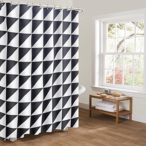Htovila Duschvorhang Anti-Schimmel Wasserdicht mit 12 Duschvorhangringe aus Waschbar Polyester, 180 x 180 cm Dreieckig Muster