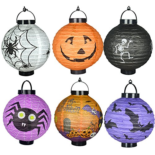 (Halloween Deko Kürbis 4 LED Laterne Jack, Skelette Spinnen Fledermäuse Haunted Home Garden Party Yard Props Geschenk für Kinder)