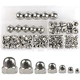 QLOUNI 140 stuks hoedenmoeren zeskantige moeren van roestvrij staal cap moer zeskant hoedenmoeren assortiment M3 M4 M5 M6 M8