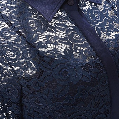 Vintage rétro 1950's Audrey Hepburn imprimée Fleurs dentelle Col chemise Manche longues robe de soirée décontractée cocktail Marine