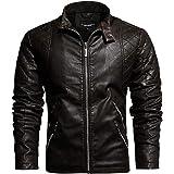 Giacca in pelle da uomo con colletto in cuoio classico giacca invernale in finta pelle