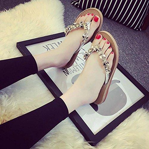 LvYuan Pantofole estive delle donne / comodo casuale di modo / ribattini / piattaforme / sandali dei Rhinestones / pattini sexy della spiaggia Silver