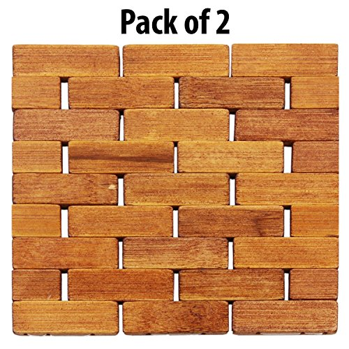 HOKIPO Square Bamboo Coaster, Pan Pot Holder, 17 x 17 cm, 2 Piece Set
