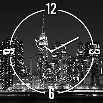 Amazon.de: Wanduhr aus Glas, New York Skyline, schwarz