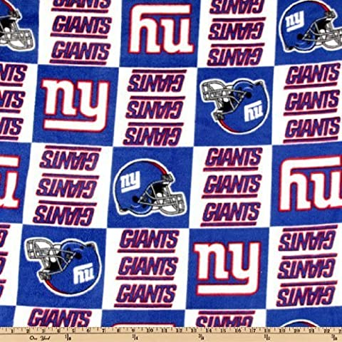 60'' Wide NFL Fleece New York Giants Squares Blue/White Fabric By The Yard by Fabric Tradtions