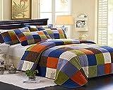 mixinni® Tagesdecke Quilt 100% Baumwolle Rustikaler Patchwork Stil Karierter (Enthält keine Kissenbezüge) 240*260(CM)