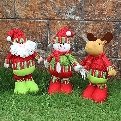 iplst @ regalo di natale Babbo Natale Pupazzo Di Neve Cervo bambole Flessibile decorazioni giardino di casa scrivania decorazione per feste, Snowman, Extend Height