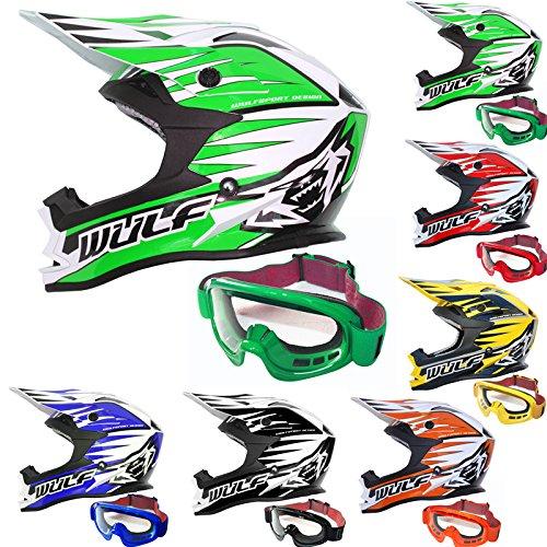 Wulfsport Casco delantero ECE2205 del motocrós de la moto de aprobado + Gafas para adultos | Verde XS (53-54cm)