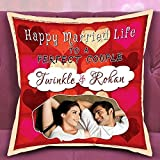 Happy Married Life Couple Cushion/ Personalized Cushion Perfect Gift For Mother's Day, Gift For Mom, Gift For Him, Gift For Her, Gift For Boyfriend, Gift For Girlfriend, Gift For Husband, Gift For Wife, Anniversary/Birthday Personalize Gift Can Be Customi