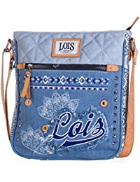 LOIS - 91825 Bolso de mujer bandolera ajustable. Bolsillo interior. Dos bolsillos exteriores con cremallera. LLavero. Lona Denim y Piel sintética Polipiel