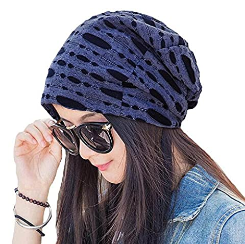 Azue Women Unisex Soft Stylish Hole Cut Casual Slouchy Hat Comfort Stretch Beanie Headwear Caps for Chemotherapy