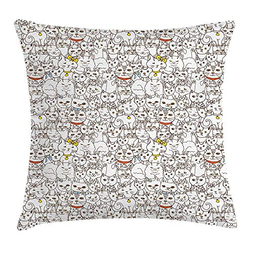 Pillow Cushion Cover, Bunch of Cats Sweet Family Animals Company Doodle Style Kitties Baby Cartoon, Decorative Square Accent Pillow Case, 18 X 18 inches, Multicolor ()