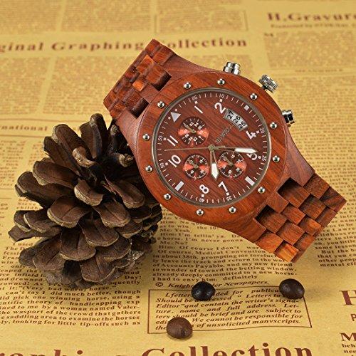 BEWELL Uhren Aus Holz Herrenuhr Chronograph Quarzwerk mit Holzarmband Datum Kalender Stoppuhr Rund Holzkern Uhr (Rot) - 6