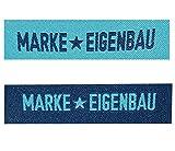 alles-meine.de GmbH 2 tlg. Set: Etiketten - Marke EIGENBAU - 6 cm * 1,5 cm - Aufnäher Gewebter Flicken Zum Aufnähen / Applikation - für Kinder & Erwachsene - Handmade - z.B. für selbstgenähte Sachen