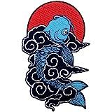 Toppa ricamata da applicare con ferro da stiro o cucitura, tema: Koi Fish giapponese