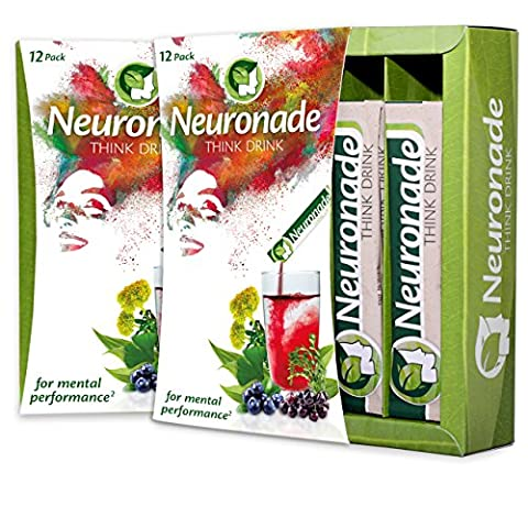 Neuronade® - Think Drink for Concentration | Natural Brain Food with important Vitamins & 7 medicinal herbs (e.g. Ginkgo, Bacopa, Rhodiola) | caffeine-free & vegan – 12x Think