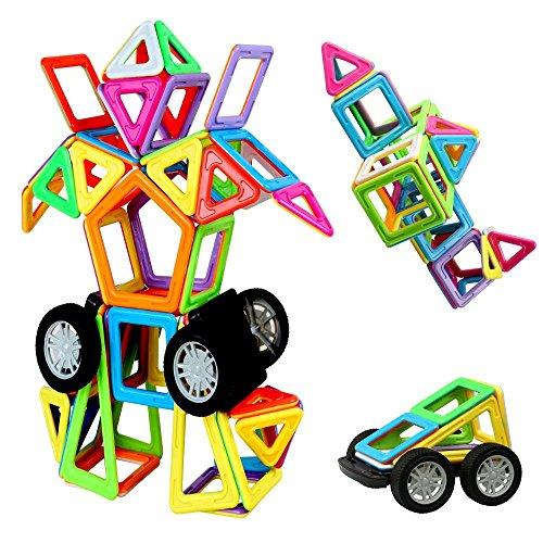 Blocs Construction Magnétiques 76 Pièces Infinitoo Construction Magnétique XX Transformer Colorée Idéal Cadeau du Jeu de Construction pour Bébé et Petit Enfant Parfait pour Amusant et Education