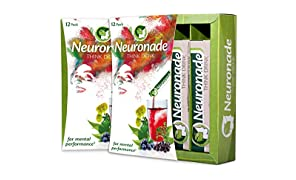 Neuronade® - Think Drink for Concentration | Natural Brain Food with important Vitamins & 7 medicinal herbs (e.g. Ginkgo, Bacopa, Rhodiola) | caffeine-free & vegan – 12x Think Drink