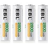 EBL AA Akku 2800 mAh - NiMH Akkubatterien hohe Kapazität mit Aufbewahrungsbox 4 Stück
