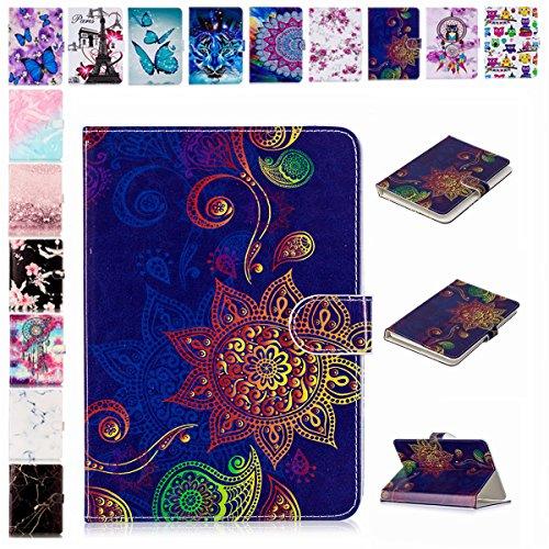 E-Mandala Universal 8 Zoll Hülle Etui Flip Case Leder Wallet Cover Tablet PC Tasche mit Kartenfach Klapphülle Ledertasche Lederhülle - Mandala Blumen Henna