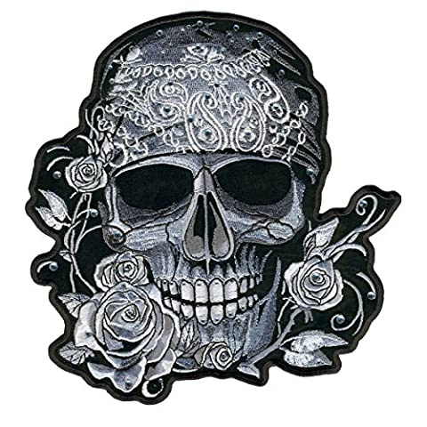 BANDANA SKULL WITH RHINESTONES, Embroidered Iron-On / Saw-On Rayon PATCH - 4