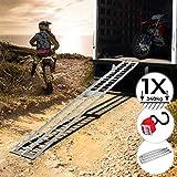 Rampa di Carico - Set da 1 o 2, Pieghevole, in Alluminio, Carico Massimo 340kg, Portatile - Rampa di Accesso, di Sollevamento, Rampe Moto (Set da 1 Rampa)
