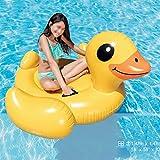 WLWWY Riesige Aufblasbare Gelbe Ente Leben Boje, Outdoor-Pool Floatie Float Lounge Spielzeug Bett mit Schnellventile Für Erwachsene, Kinder 120 * 90 * 90 cm (Inflator Pumpe)