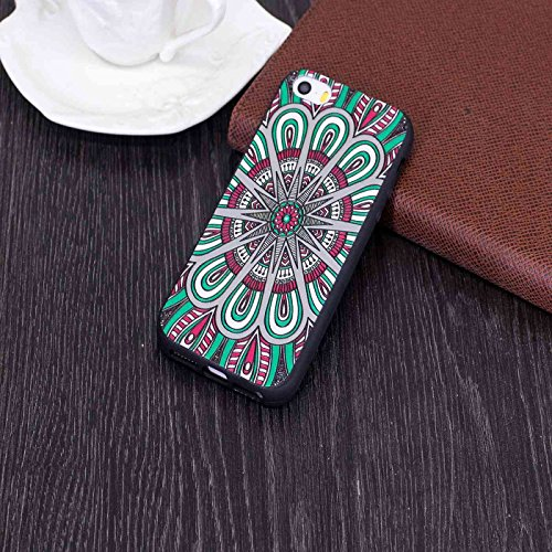 iPhone SE Hülle,iPhone 5/5s Schutzhülle,TOYYM Ultra Dünn Rubber Soft Flex Silikon Black Matte Bumper TPU Case Handyhülle,Kreativ Niedlich Muster Design Rubber Schutz Handy Backcover Tasche Case für Ap Grüne Mandala