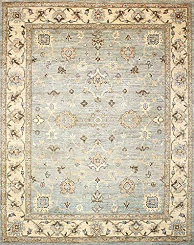 Canadian Rugs Traditioneller handgeknüpfter moderner Teppich Chobi-Teppich, 100% Wolle, doppelter handgeknüpfter Perserteppich, Größe 315 x 249 cm, Grau/Beige -
