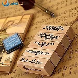 Lungo Timbro romantici Diy timbri di gomma di legno per i francobolli Scrapbooking Vintage Stationery Set