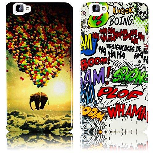 thematys Passend für CUBOT X15-2X Set Fliegender Elefant + Comic Silikon Schutz-Hülle weiche Tasche Cover Case Bumper Etui Flip Smartphone Handy Backcover Schutzhülle Handyhülle