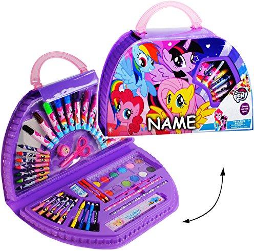 alles-meine.de GmbH 51 TLG. Set __ XL Stifte-Koffer -  My Little Pony  - incl. Name - Malkoffer mit Stiften + Filzstifte + Buntstifte + Wasserfarben + Wachsmal Farben + Pinsel .. (My Little Pony-koffer)