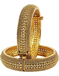 Zeneme Royal Style Openable Broad Gold Plated Antique Bangles Jewellery For Women And Girls