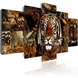murando - Bilder 200x100 cm Vlies Leinwandbild 5 TLG Kunstdruck modern Wandbilder XXL Wanddekoration Design Wand Bild - Tiger Abstrakt Weltkarte g-C-0027-b-n