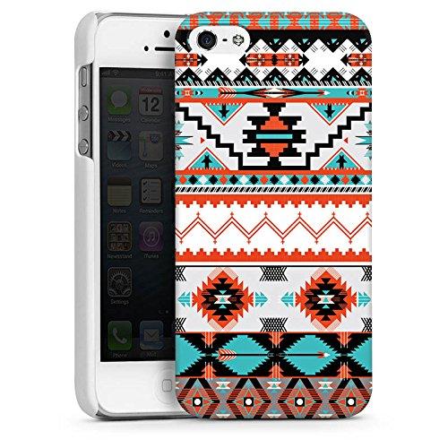 Apple iPhone 5s Housse Étui Protection Coque Ethnique Aztèques Motif CasDur blanc