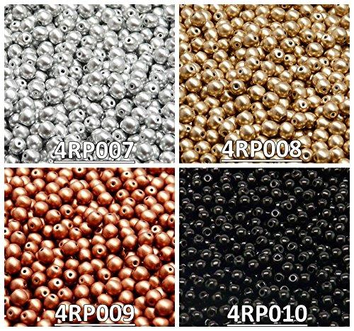 400 stk 4 Farben Tschechische Gepresste Glasperlen Rund 4 mm, Set RP 402 (4RP007 4RP008 4RP009 4RP010)