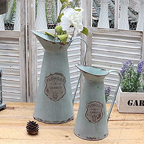 APSOONSELL Metal Flower Vase Decorative Tin Water Pitcher Style Rustic