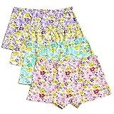 CHIC-CHIC Boxer Slip Lot de 4 Fille Bébé Enfant Culotte Pantalon Sous-Vêtement en Coton Motif Mignon Uni 8-10ans SH
