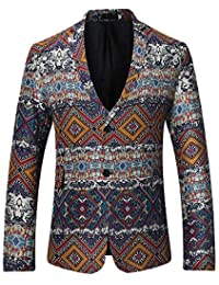 95cac7b7bca Mens Slim Fit Blazer Long Sleeve Button Printing Coat Lapel Casual Jacket