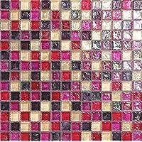 Rosa madre de perla de cristal mosaico azulejos alfombra con efecto de cristal giratorio (MT0027)