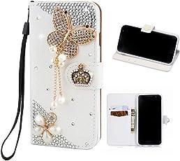 Galaxy S7 Edge Hülle, MingKun Diamant Bling Rhinestone Handmade PU Leder Handyhülle für Samsung Galaxy S7 Edge Schutzhülle Kristall Glänzend Kratzfeste Tasche Schale mit Standfunktion - Weiß Schmetterling