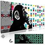 decomonkey | NEUHEIT! Leinwand Bilder nachtleuchtend Affe Banksy 120x40 cm Wandbilder Tag & Nacht Dekoration | Design Bilder mit 3D nachleuchtenden Farben | Deutsche Vlies Leinwand | Echter Span-Holz-rahmen, fertig aufgespannt | DKB0419alla1PS