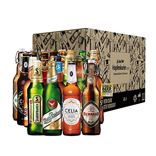Bier Geschenk-Set (Probierset) Tschechien 18 Flaschen 0,5 Liter beste Biere Hell, Dunkel, Alkohol und Glutenfrei   Perfekte Geschenkidee für Männer
