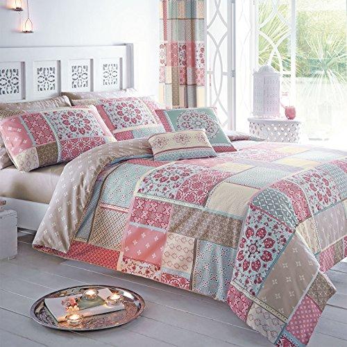 Just ContempoPatchwork Marroquí –Juego con funda nórdica y fundas de almohada, Rosa, tamaño: King Size
