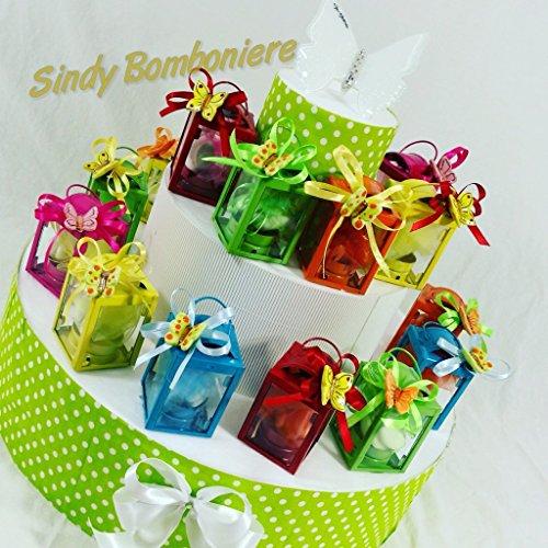 Bomboniere lanterne in metallo colorate con farfalle ideali per cresima, comunione (torta completa)