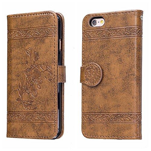 Voguecase Pour Apple iPhone 6/6s 4,7 Coque, Étui en cuir synthétique chic avec fonction support pratique pour iPhone 6/6s 4,7 (Modèle en cire d'huile-Jaune)de Gratuit stylet l'écran aléatoire universe Modèle en cire d'huile-Marron